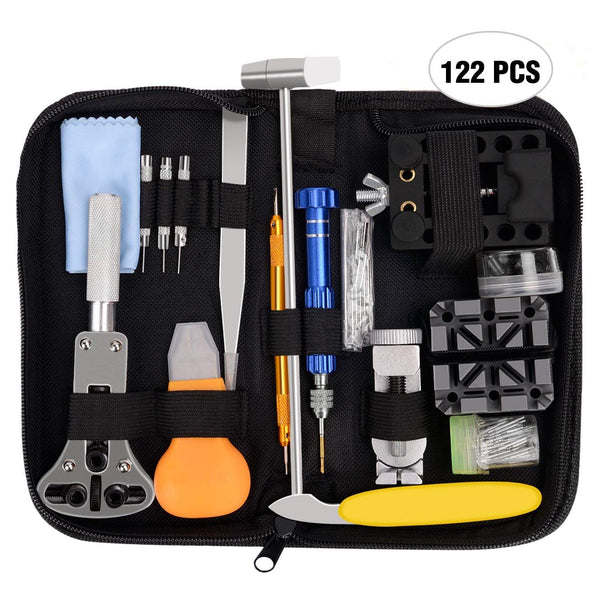 Nelipo Watch Repair Kit , 122PCS Professional Watchband Adjustment Tool Set/Spring Bars Set/ Watches Battery Replacement Tools with Carrying Case