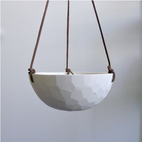 Geometric Hanging Ceramic Porcelain Planter, Size Large