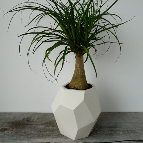 Geometric Faceted Ceramic Planter White Porcelain