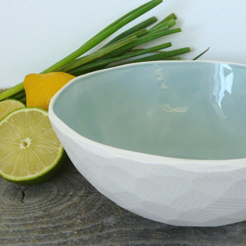 Geometric Serving Bowl Hand Carved Porcelain, 9 colors