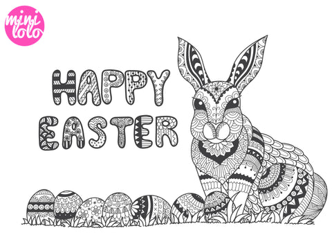 Cool Rabbit Coloring Page Easter Mini Lolo