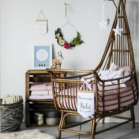 vintage cane crib with overhang