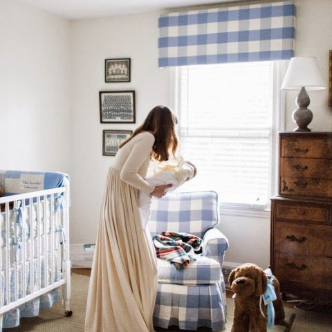 Traditional blue gingham nursery