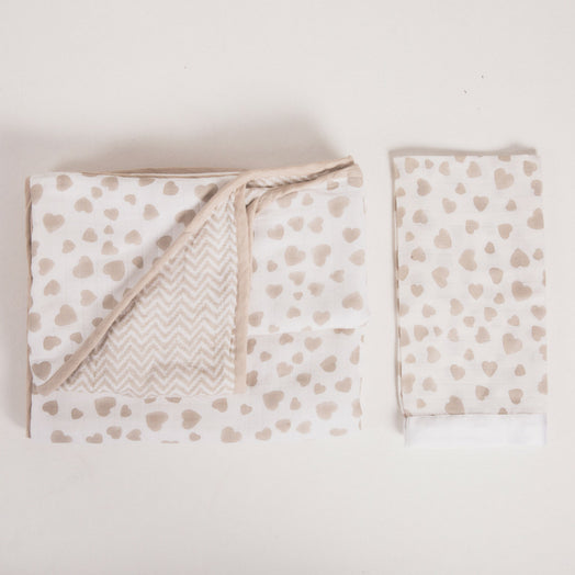 hand printed hooded Muslin Bath Cape and satin trimmed Muslin