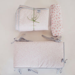 Pink Cot Bed Gift Set with hand blocked muslin sheet, bumpers and quilt