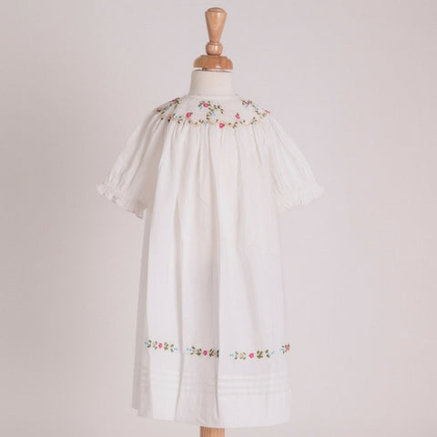 traditional hand smocked nightie with embroidered flowers