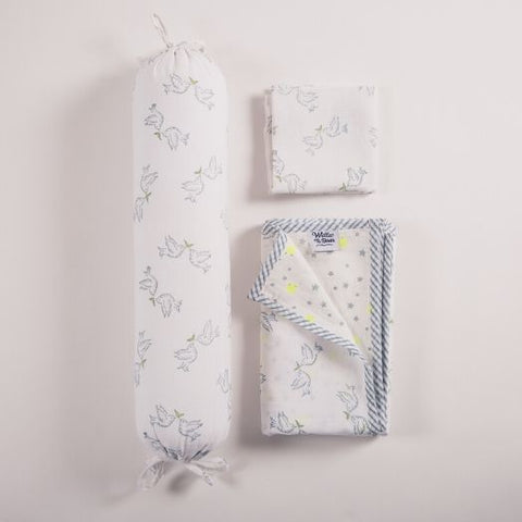 hand block printed nursery essentials gift set