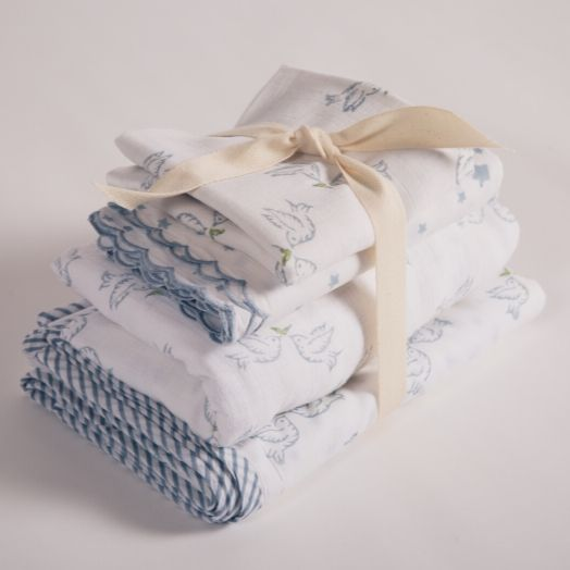dove print muslin squares with satin trim