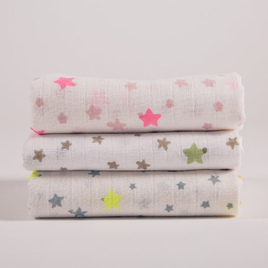 trio of hand block printed satin trimmed muslin squares