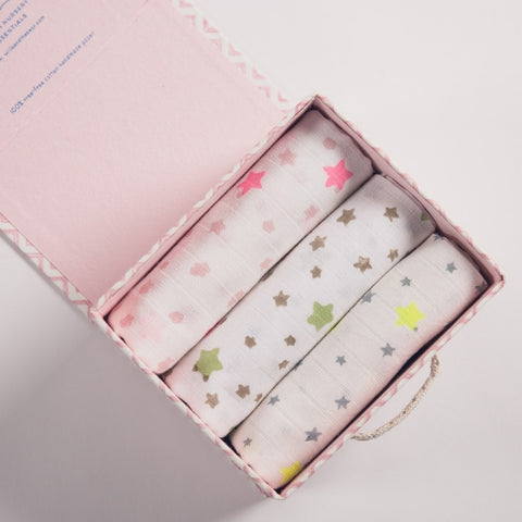boxed trio of starry muslin squares