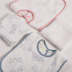 dusty pink and smokey blue bib and muslin gift set