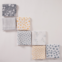 a set of seven hand block printed muslins, one for every day of the week