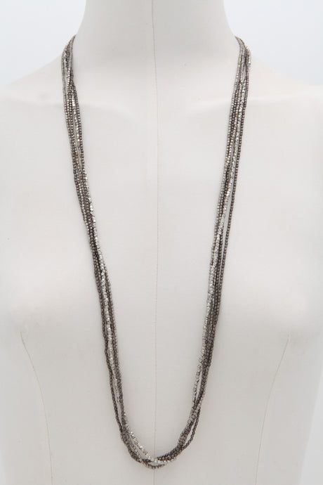 Moksha Ibiza black and silver beaded necklace - Mie-Style
