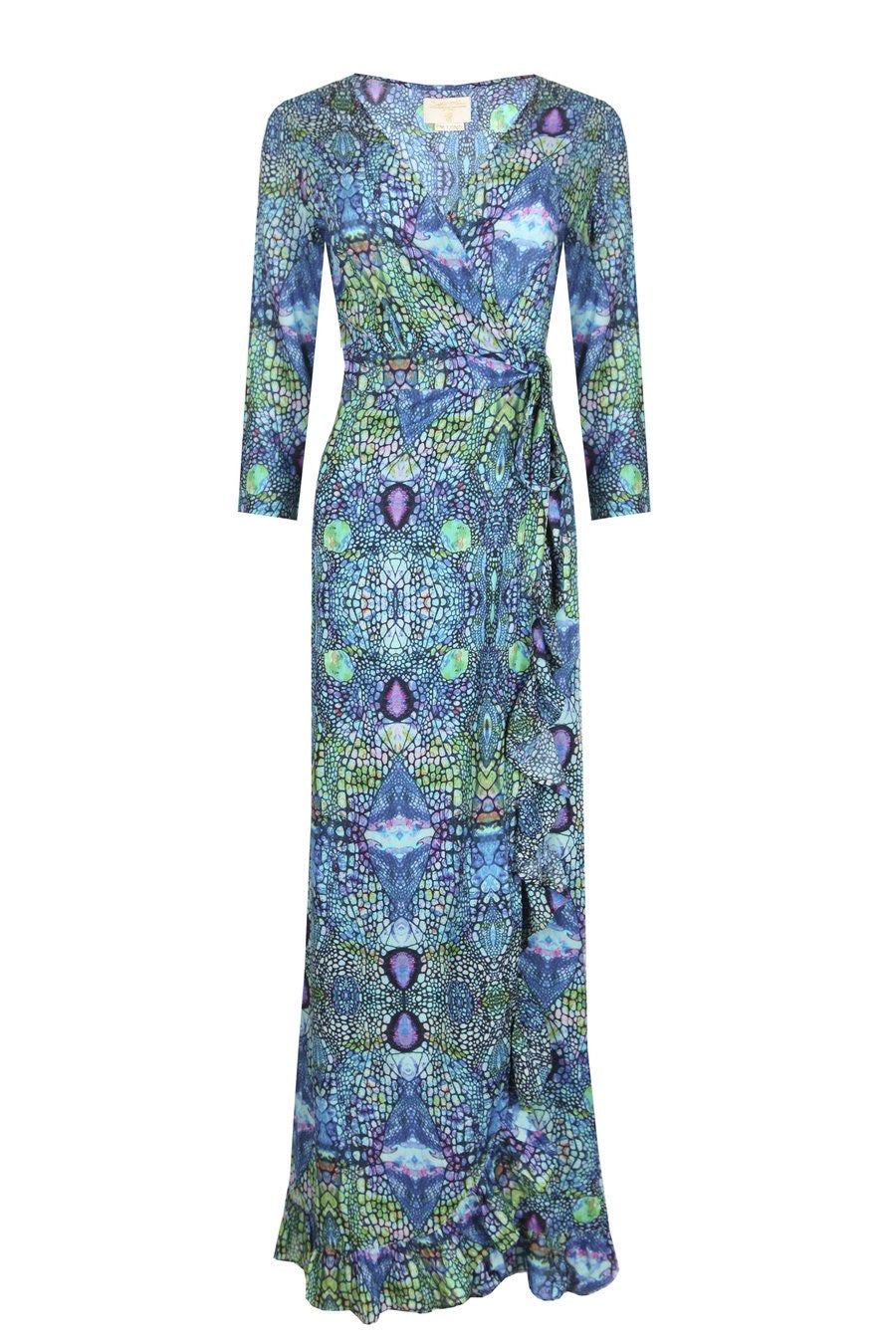 Sophia Alexia Ruffle Wrap Dress iguana