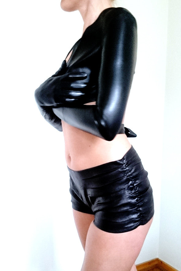 76c7dc24a86fc sexy black leather gloves bolero and leather hot pants by Dutch Leather  Design ...