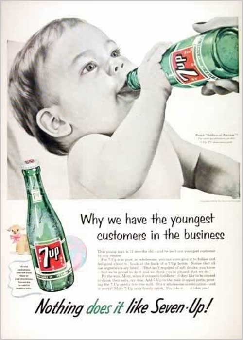 Baby drinking 7-up ad