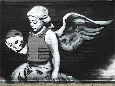 Banksy Angel in Bulletproof Vest (Fallen Angel) Graffiti - London, UK