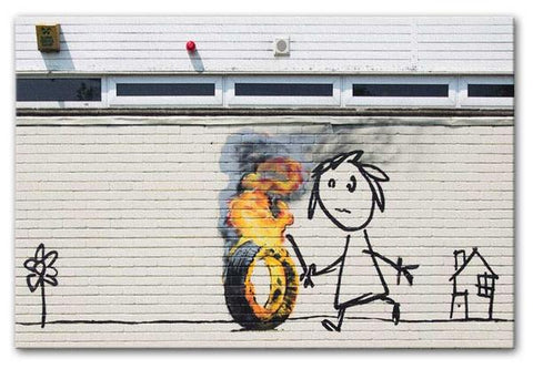 Banksy Burning Tyre prints