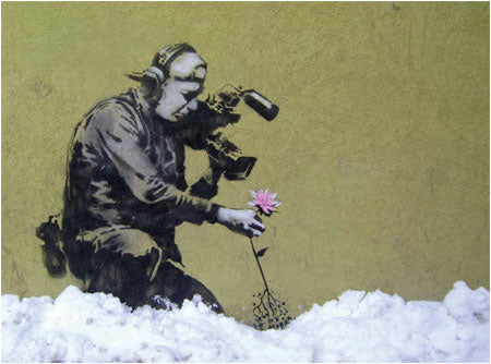 Banksy Cameraman and Flower - Utah, USA