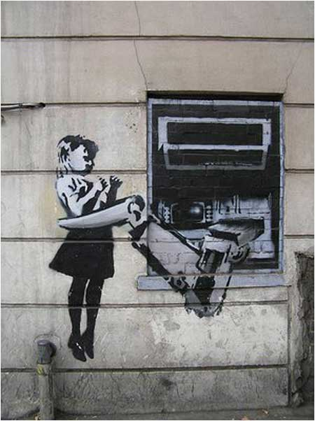 Banksy Cash Machine Girl Graffiti - Exmouth Market, London