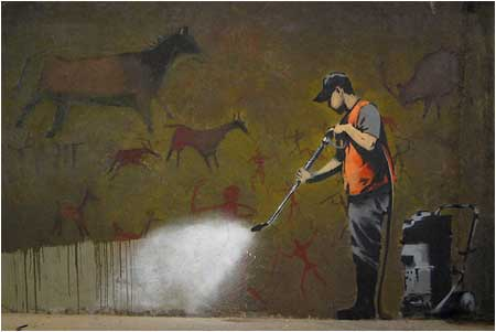 Banksy Cave Painting Removal Graffiti - Leake Street, London