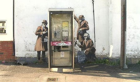 Banksy GCHQ Government Spies Telephone Box Graffiti - Cheltenham, Gloucestershire