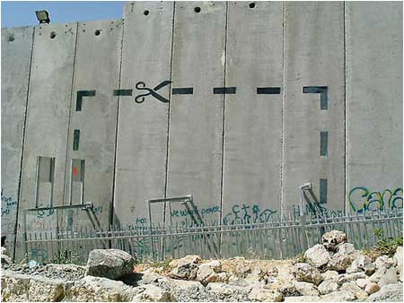 Bansky Cut It Out Graffiti - Palestine