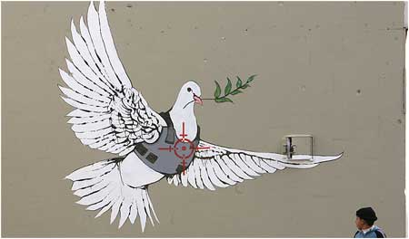 Banksy Dove of Peace Graffiti - Bethlehem, Israel