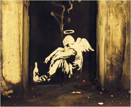 Banksy Drunk Angel Graffiti - London Bridge, London