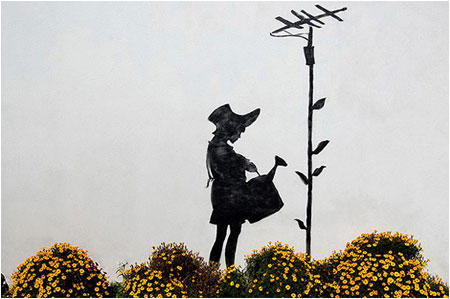Banksy Aerial Flower Girl Graffiti - Los Angeles, California