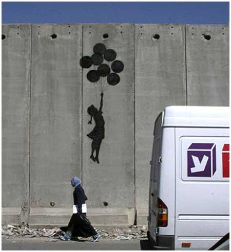 Banksy Flying Balloon Girl Graffiti - West Bank, Israel