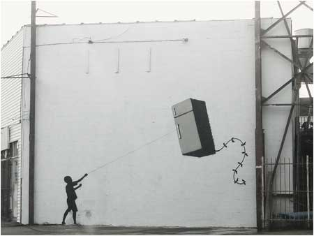 Banksy Fridge Kite Graffiti - New Orleans, USA