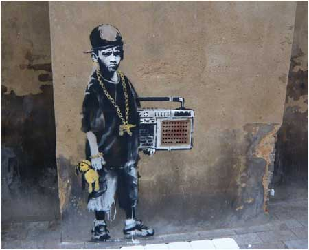 Banksy Ghetto Boy Graffiti - Hackney, London