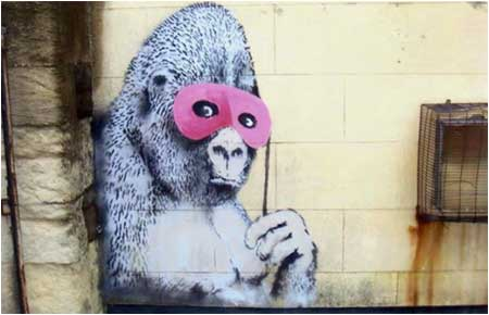 Banksy Gorilla With Pink Mask Graffiti - Bristol, UK