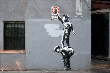 Banksy Graffiti is a Crime - New York, USA
