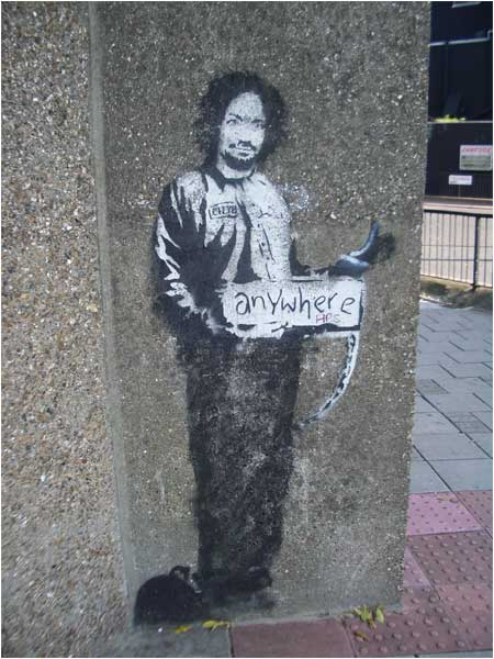 Banksy Hitchiker to Anywhere Graffiti - Archway, London