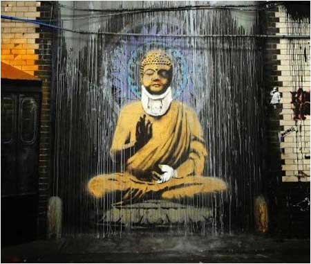 Banksy Injured Buddha Graffiti - Leake Street, London (Cans Festival)