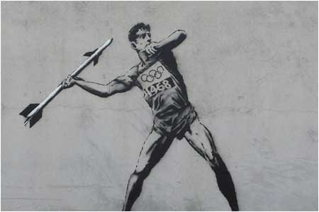 Banksy Olympic Javelin Thrower Graffiti - Hackney, London