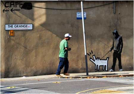 Banksy Keith Haring Dog Graffiti - Bermondsey, London