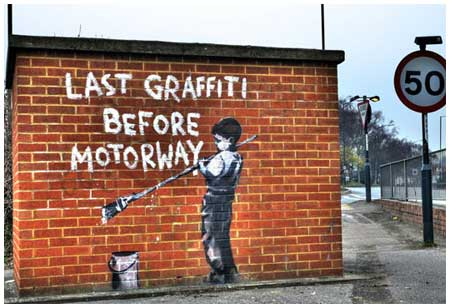 Banksy Last Graffiti Before Motorway Graffiti – London