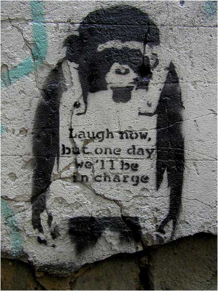 Banksy Monkey Laugh Now Graffiti