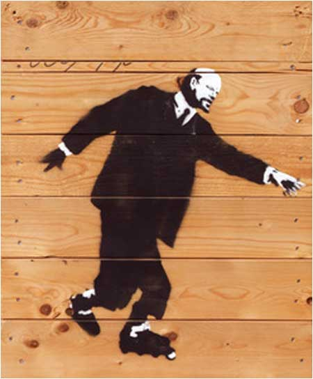 Banksy Lenin on Rollerblades Graffiti