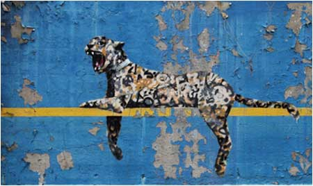 Banksy Leopard Tagular Graffiti - Bronx Zoo, New York, USA