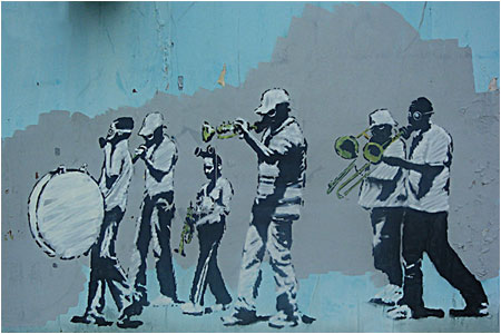 Banksy Musicians (Gas Mask Marching Band) Graffiti – New Orleans, USA