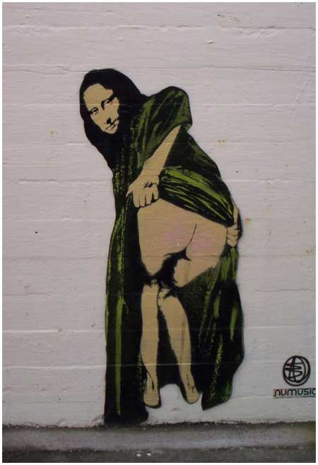 Banksy Mona Lisa Showing Her Backside Graffiti