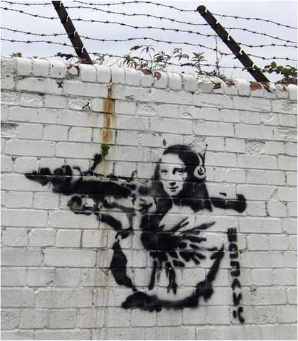 Banksy Mona Lisa With Rocket Launcher - London