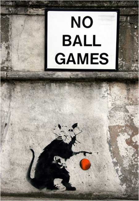 Banksy No Ball Games Rat Graffiti - London