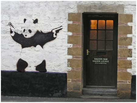 Banksy Panda With Guns Graffiti - Bristol, UK