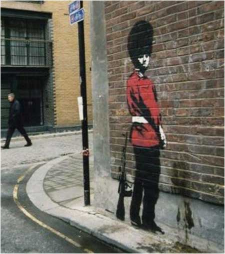 Banksy Pissing Soldier Graffiti - London