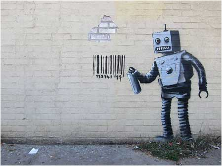 Banksy Robot and Barcode Graffiti - New York, USA